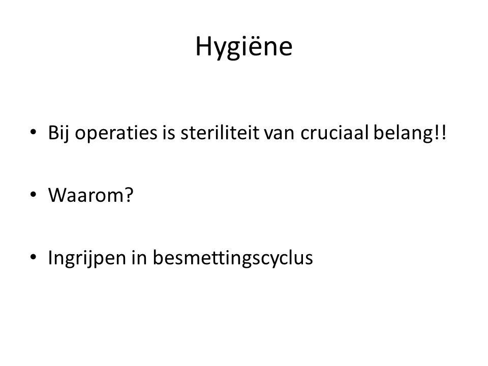 Hygiëne Bij operaties is steriliteit van cruciaal belang!! Waarom