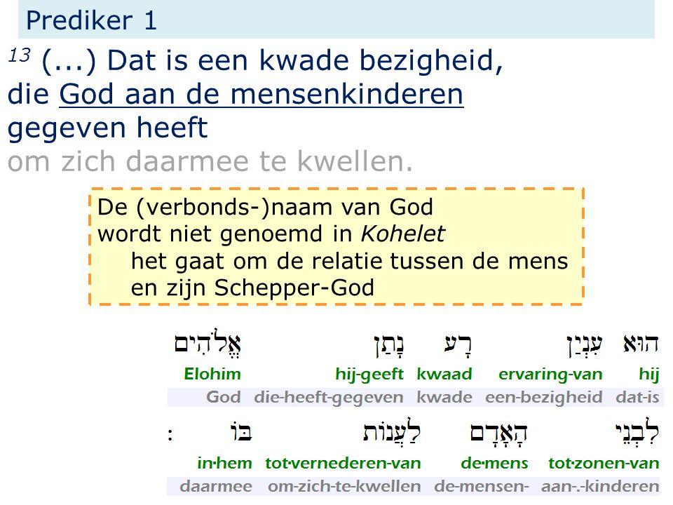 13 (...) Dat is een kwade bezigheid, die God aan de mensenkinderen