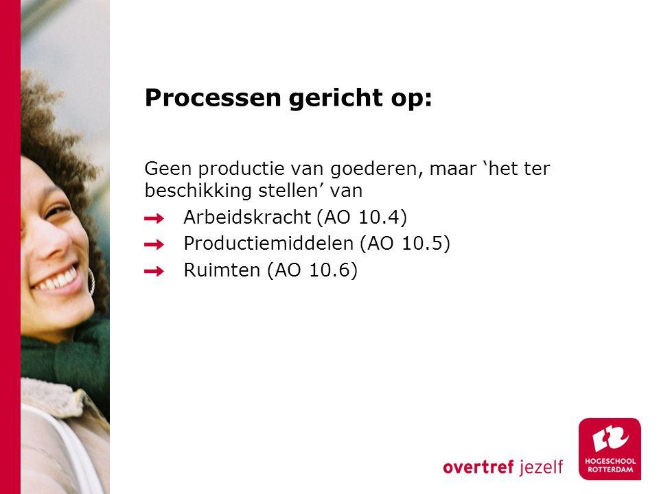 Processen gericht op: Geen productie van goederen, maar 'het ter beschikking stellen' van. Arbeidskracht (AO 10.4)
