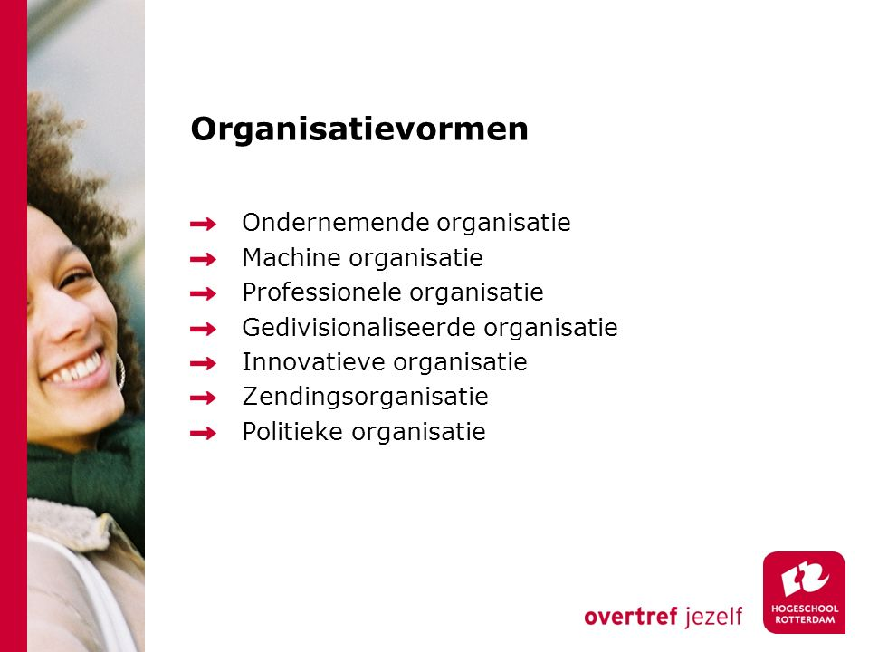 Organisatievormen Ondernemende organisatie Machine organisatie