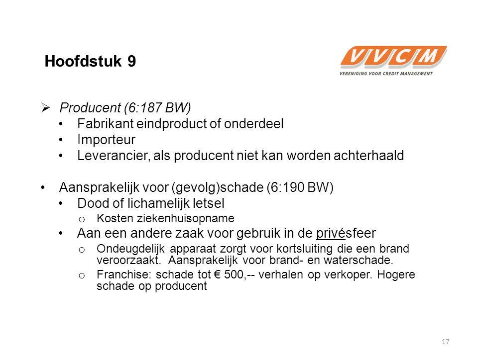 Hoofdstuk 9 Producent (6:187 BW) Fabrikant eindproduct of onderdeel