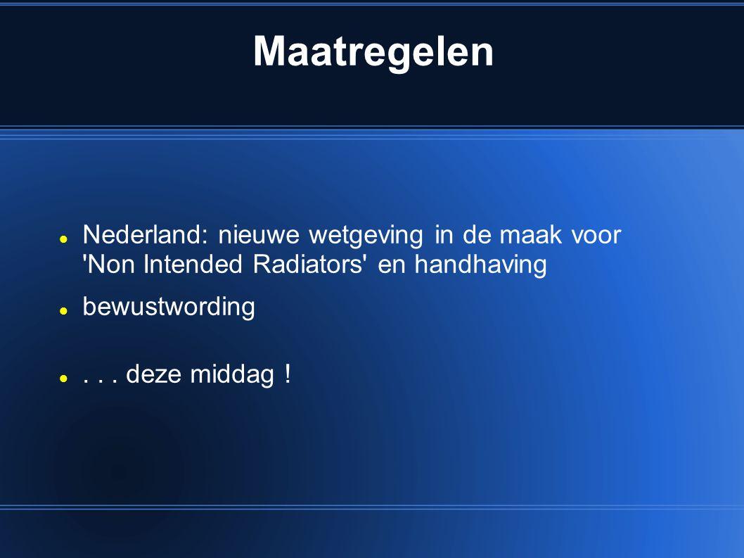 Maatregelen Nederland: nieuwe wetgeving in de maak voor Non Intended Radiators en handhaving. bewustwording.