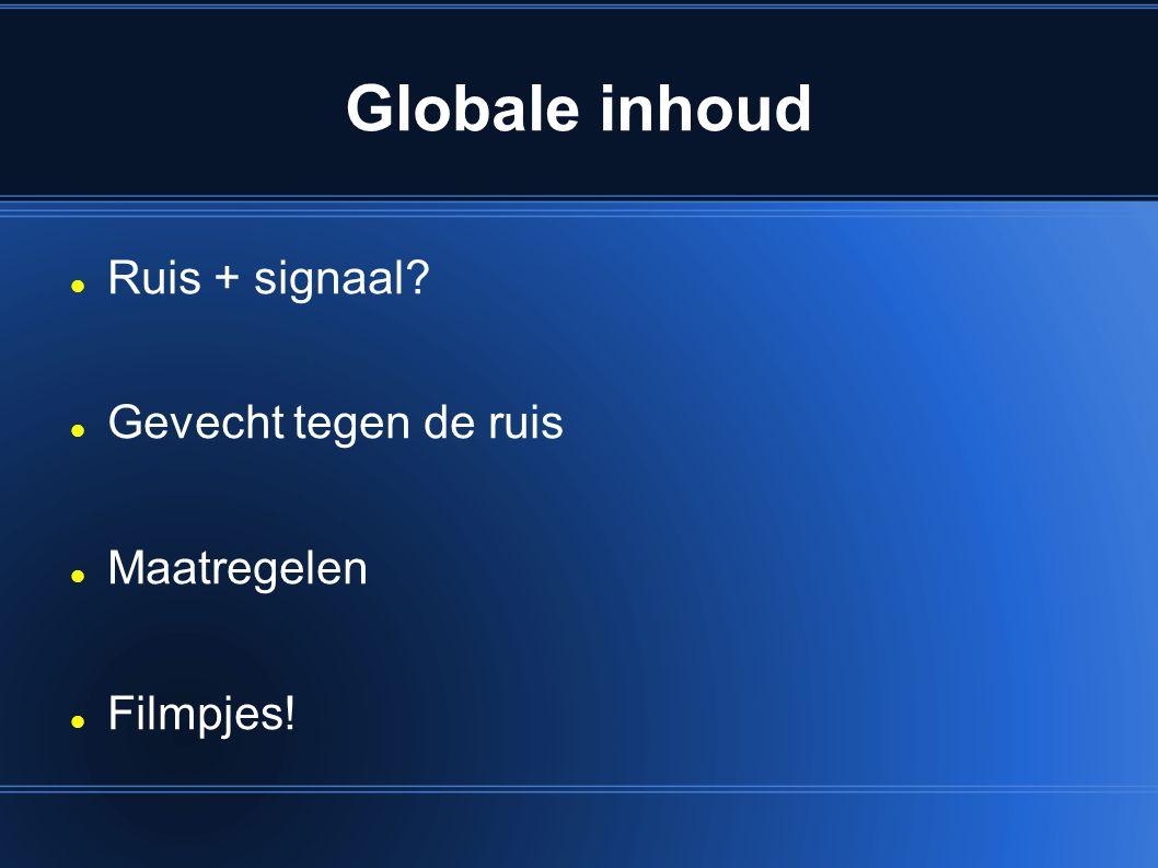 Globale inhoud Ruis + signaal Gevecht tegen de ruis Maatregelen