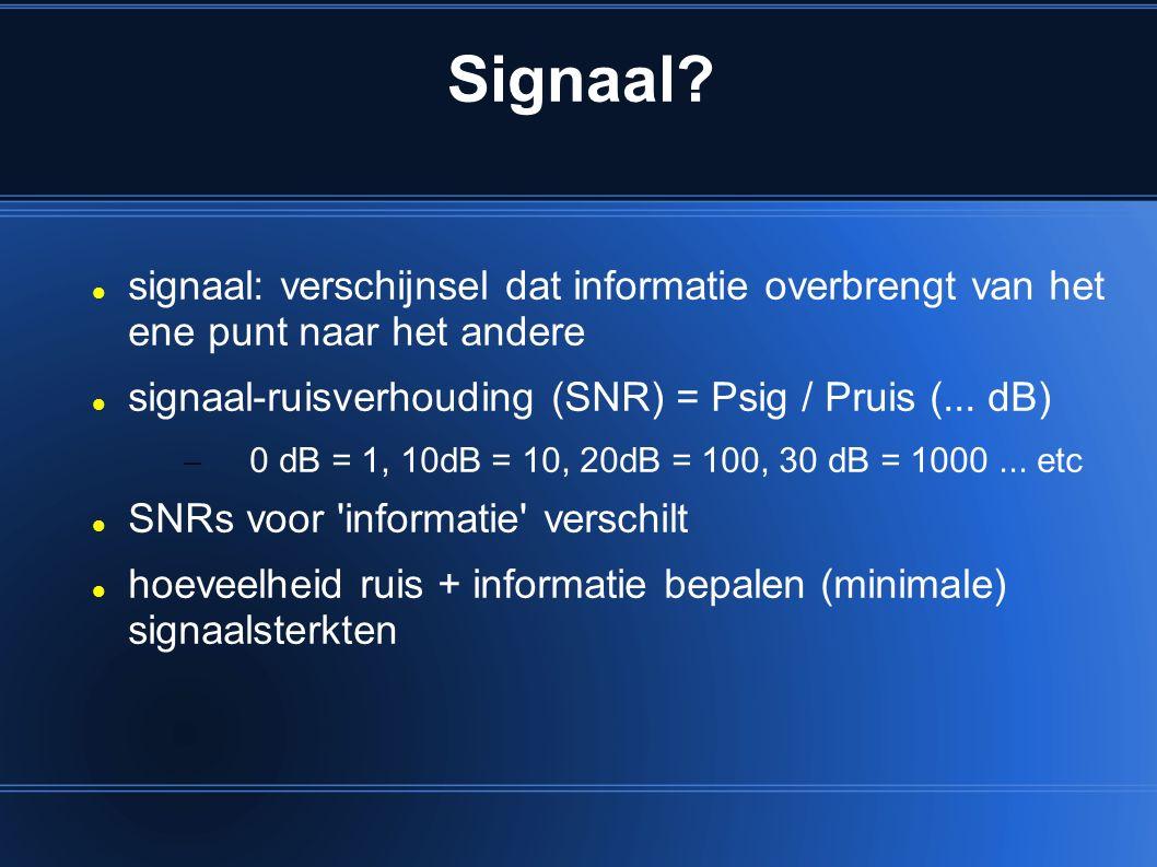 Signaal signaal: verschijnsel dat informatie overbrengt van het ene punt naar het andere. signaal-ruisverhouding (SNR) = Psig / Pruis (... dB)