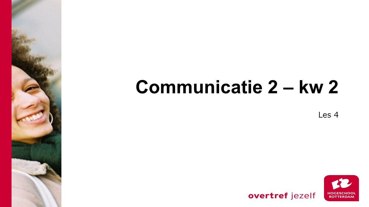 Communicatie 2 – kw 2 Les 4