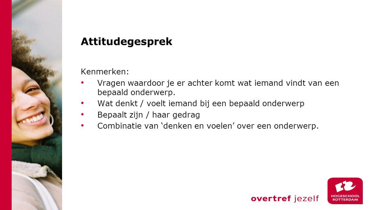 Attitudegesprek Kenmerken: