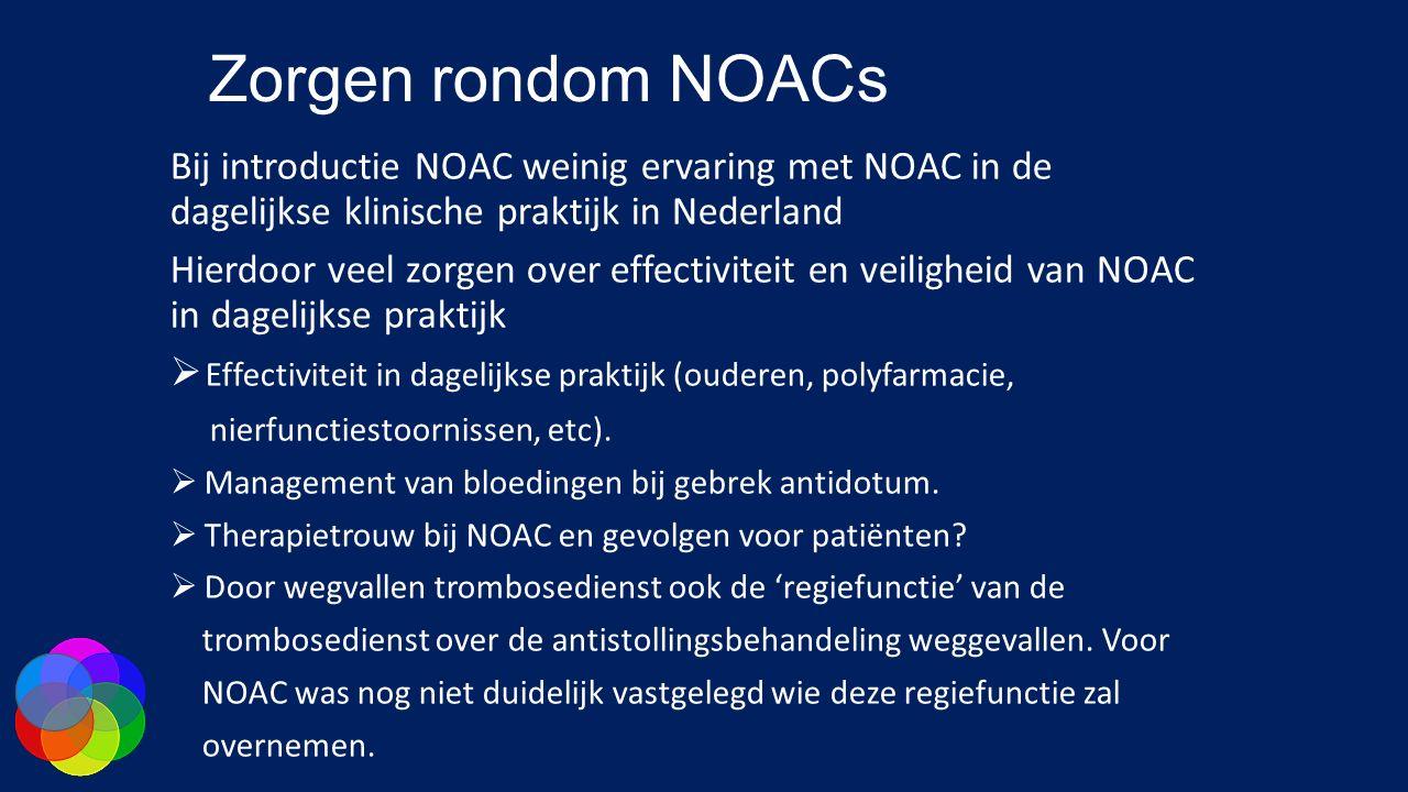 Zorgen rondom NOACs Bij introductie NOAC weinig ervaring met NOAC in de dagelijkse klinische praktijk in Nederland.