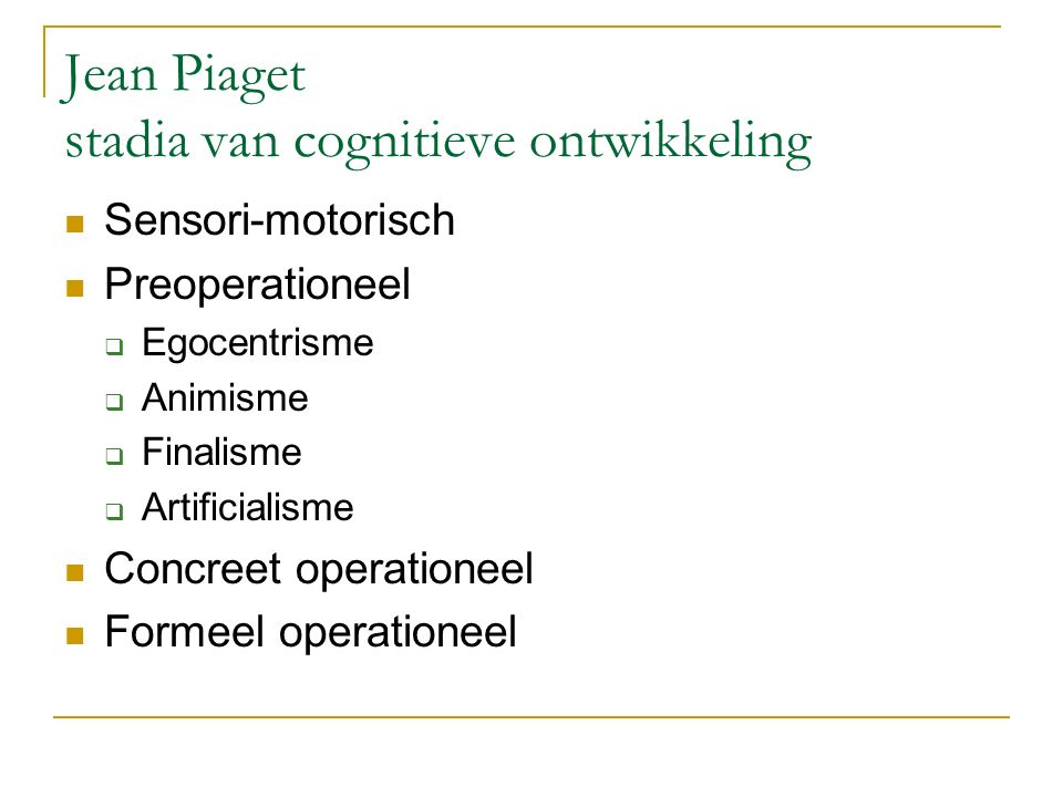 Jean Piaget stadia van cognitieve ontwikkeling