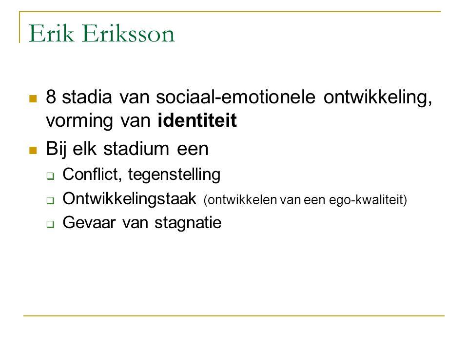 Erik Eriksson 8 stadia van sociaal-emotionele ontwikkeling, vorming van identiteit. Bij elk stadium een.