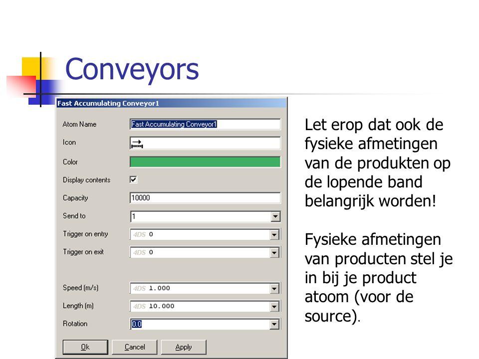 Conveyors Let erop dat ook de fysieke afmetingen van de produkten op de lopende band belangrijk worden!