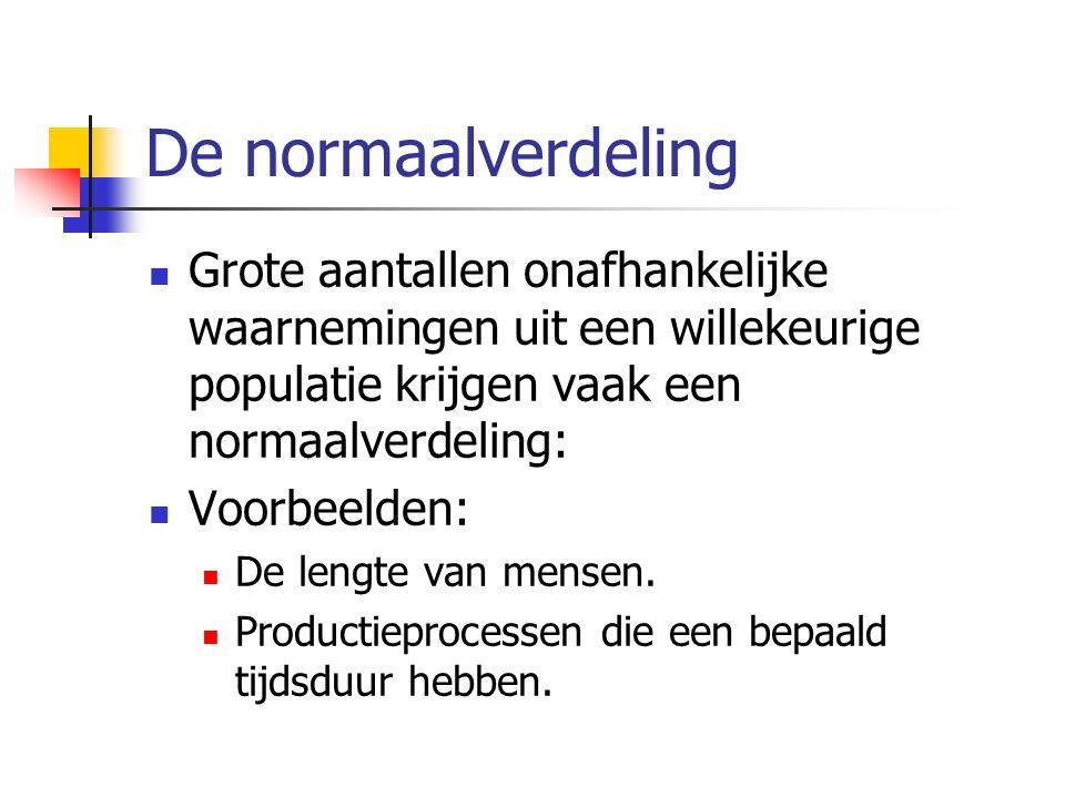 De normaalverdeling Grote aantallen onafhankelijke waarnemingen uit een willekeurige populatie krijgen vaak een normaalverdeling: