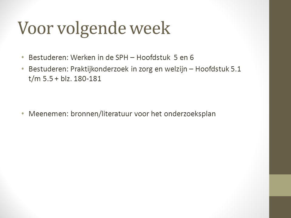 Voor volgende week Bestuderen: Werken in de SPH – Hoofdstuk 5 en 6