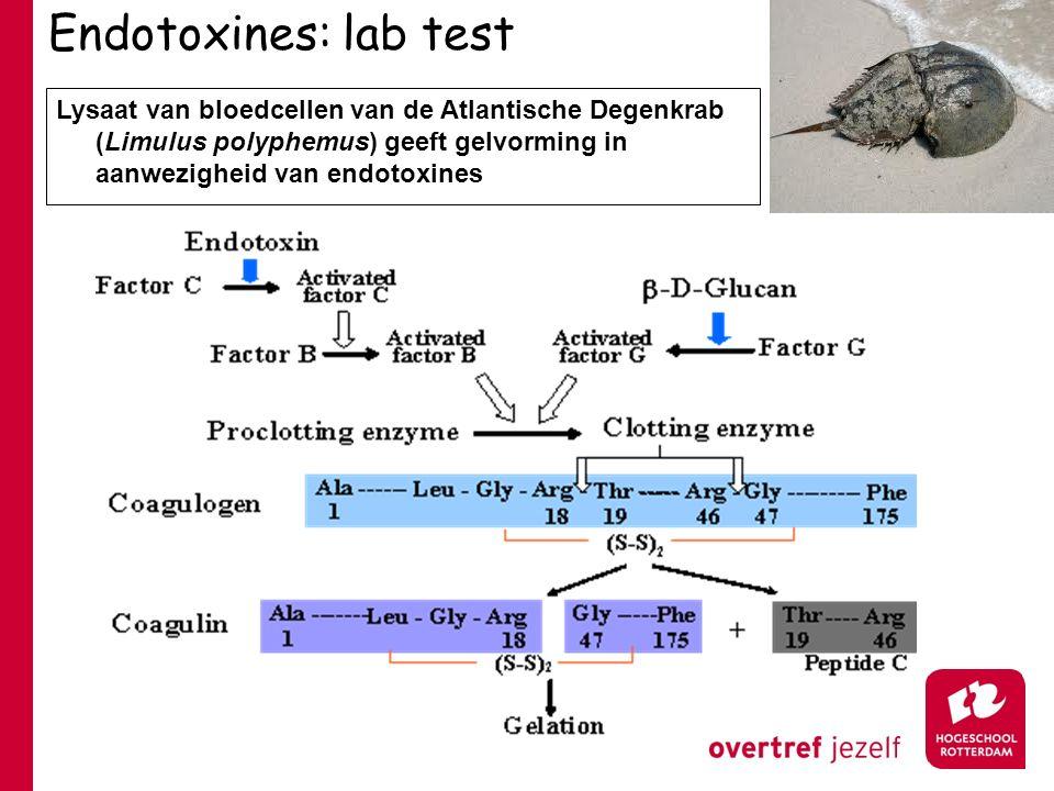 Endotoxines: lab test Lysaat van bloedcellen van de Atlantische Degenkrab (Limulus polyphemus) geeft gelvorming in aanwezigheid van endotoxines.