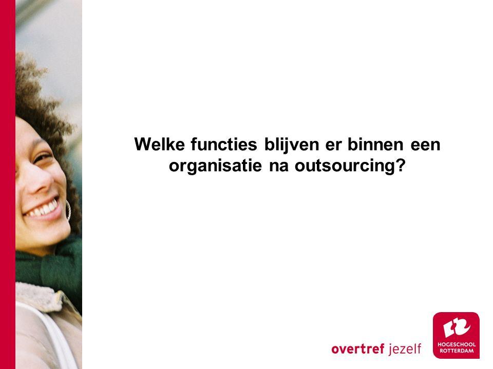 Welke functies blijven er binnen een organisatie na outsourcing