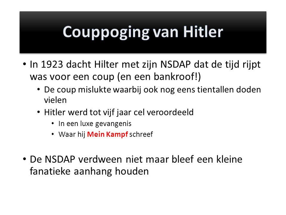 Couppoging van Hitler In 1923 dacht Hilter met zijn NSDAP dat de tijd rijpt was voor een coup (en een bankroof!)