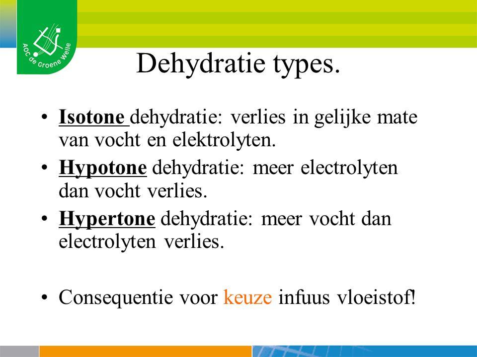 Dehydratie types. Isotone dehydratie: verlies in gelijke mate van vocht en elektrolyten. Hypotone dehydratie: meer electrolyten dan vocht verlies.