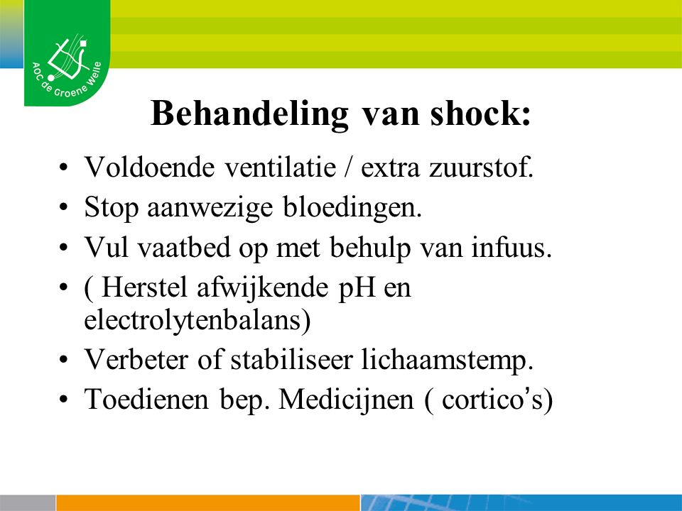 Behandeling van shock: