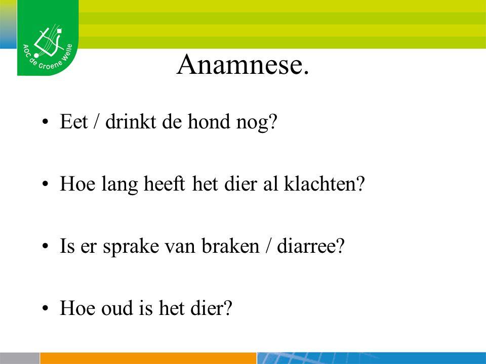Anamnese. Eet / drinkt de hond nog