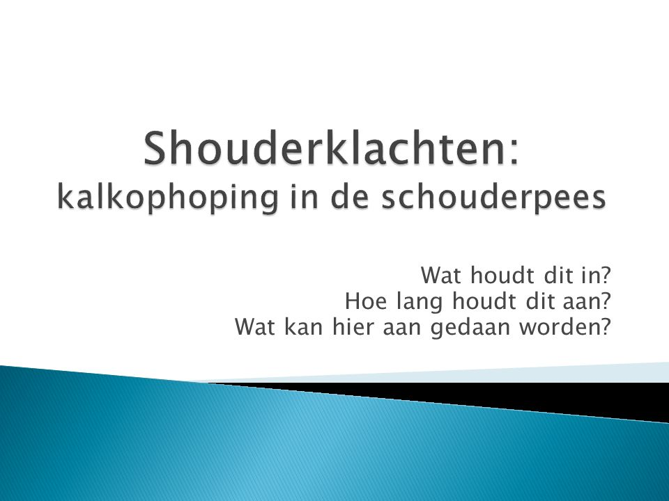 Shouderklachten: kalkophoping in de schouderpees