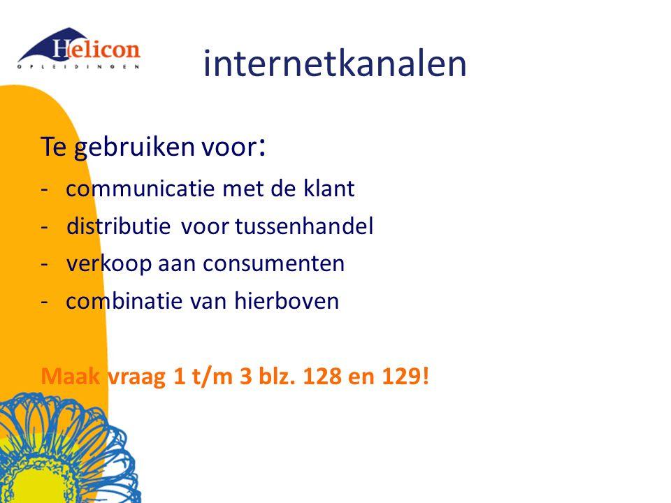 internetkanalen Te gebruiken voor: communicatie met de klant