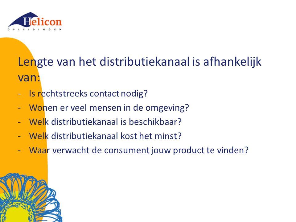 Lengte van het distributiekanaal is afhankelijk van: