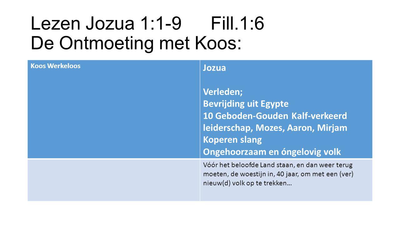 Lezen Jozua 1:1-9 Fill.1:6 De Ontmoeting met Koos: