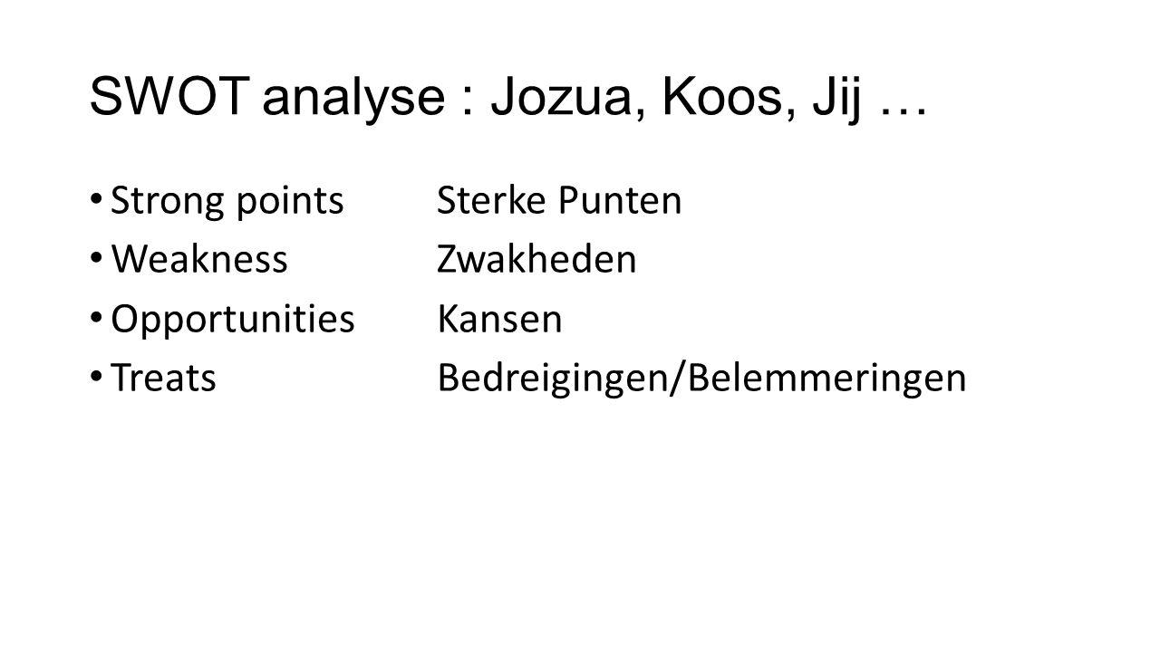 SWOT analyse : Jozua, Koos, Jij …