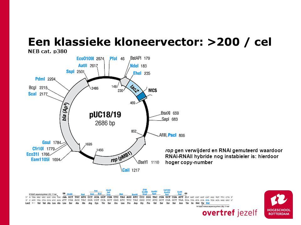 Een klassieke kloneervector: >200 / cel NEB cat. p380