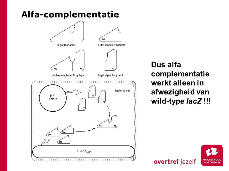 Alfa-complementatie Dus alfa complementatie werkt alleen in afwezigheid van wild-type lacZ !!!