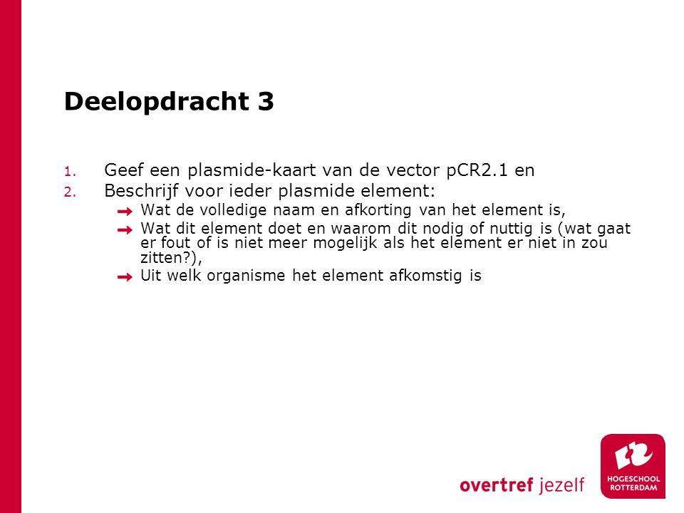 Deelopdracht 3 Geef een plasmide-kaart van de vector pCR2.1 en