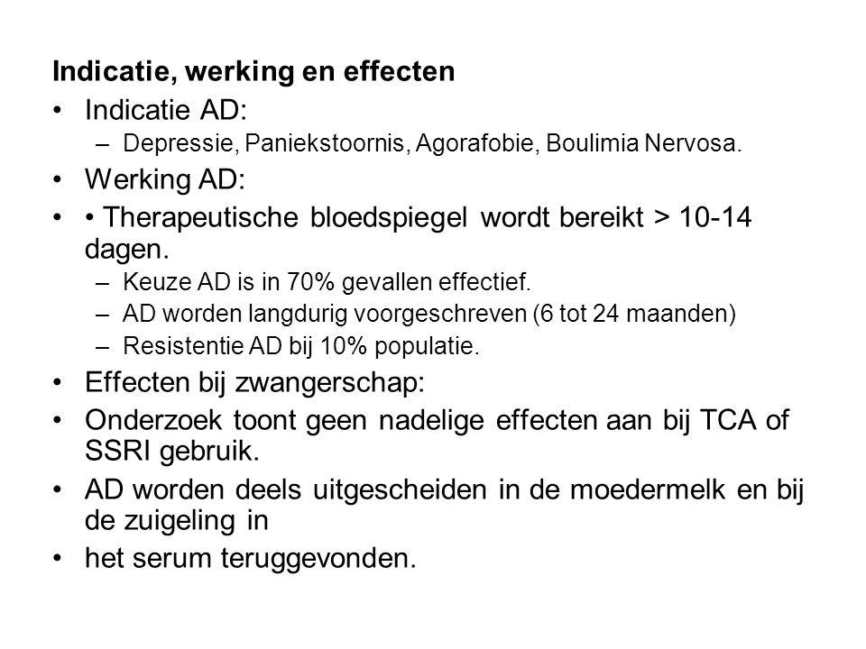 Indicatie, werking en effecten Indicatie AD: Werking AD: