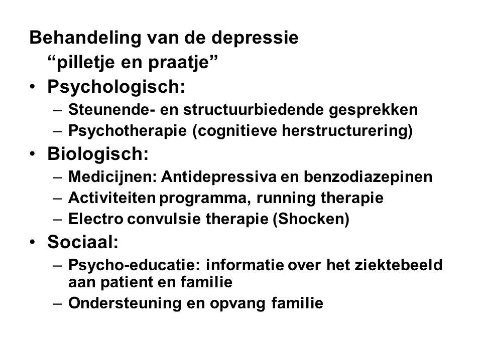 Behandeling van de depressie pilletje en praatje Psychologisch: