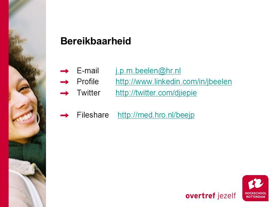 Bereikbaarheid E-mail j.p.m.beelen@hr.nl