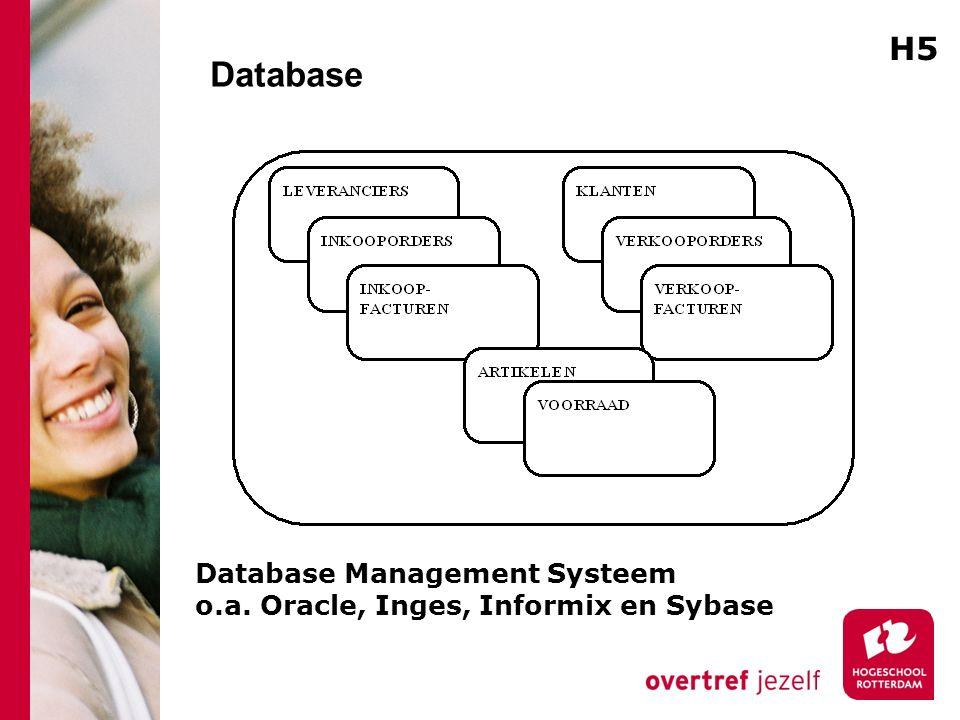 Database H5 Database Management Systeem o.a. Oracle, Inges, Informix en Sybase