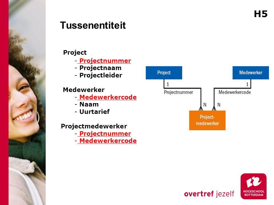 Tussenentiteit H5 Project Projectnummer Projectnaam Projectleider