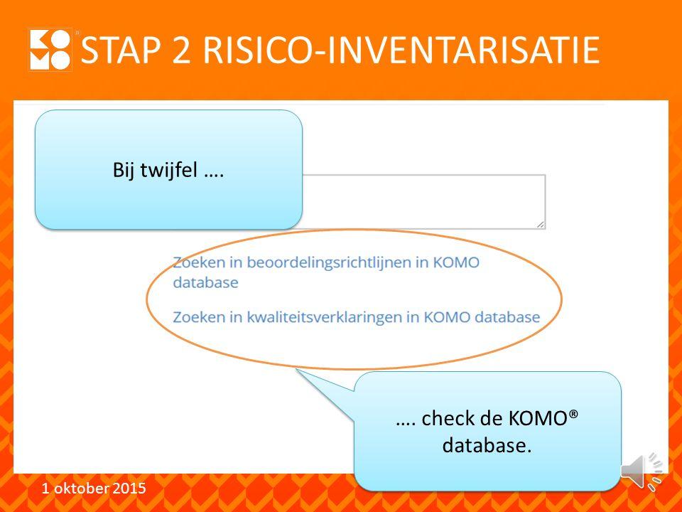 STAP 2 RISICO-INVENTARISATIE