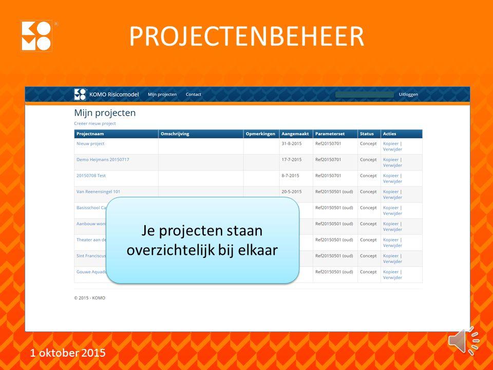 Je projecten staan overzichtelijk bij elkaar