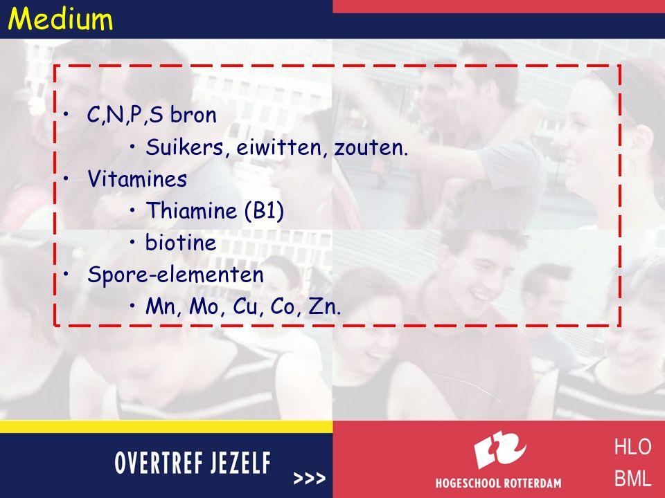 Medium C,N,P,S bron Suikers, eiwitten, zouten. Vitamines Thiamine (B1)