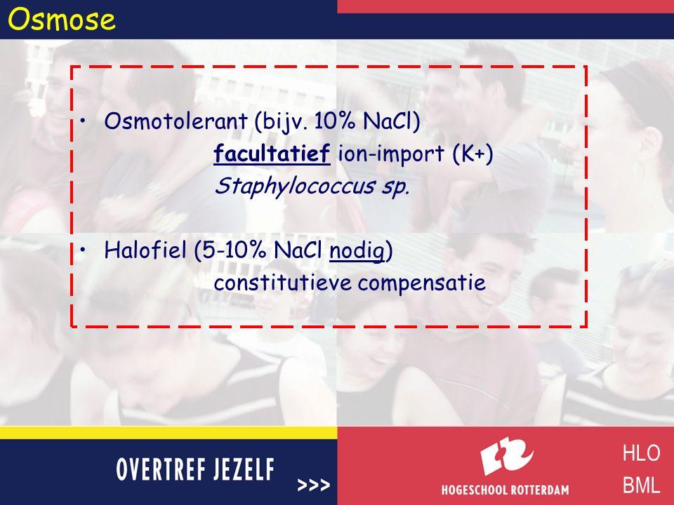 Osmose Osmotolerant (bijv. 10% NaCl) facultatief ion-import (K+)