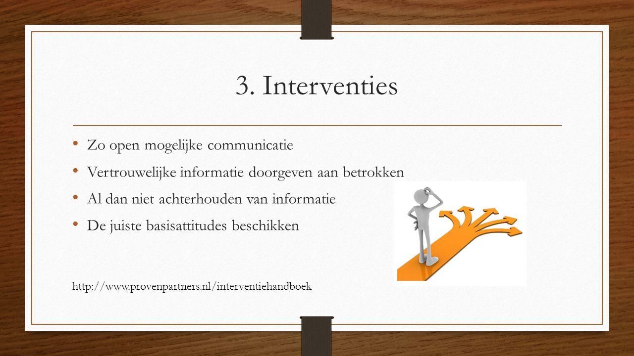 3. Interventies Zo open mogelijke communicatie
