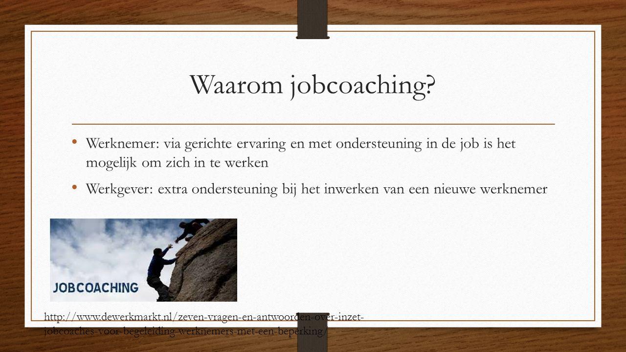 Waarom jobcoaching Werknemer: via gerichte ervaring en met ondersteuning in de job is het mogelijk om zich in te werken.