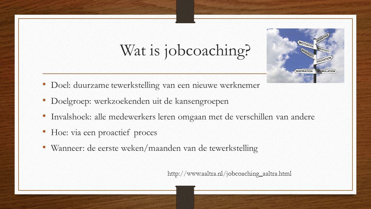 Wat is jobcoaching Doel: duurzame tewerkstelling van een nieuwe werknemer. Doelgroep: werkzoekenden uit de kansengroepen.