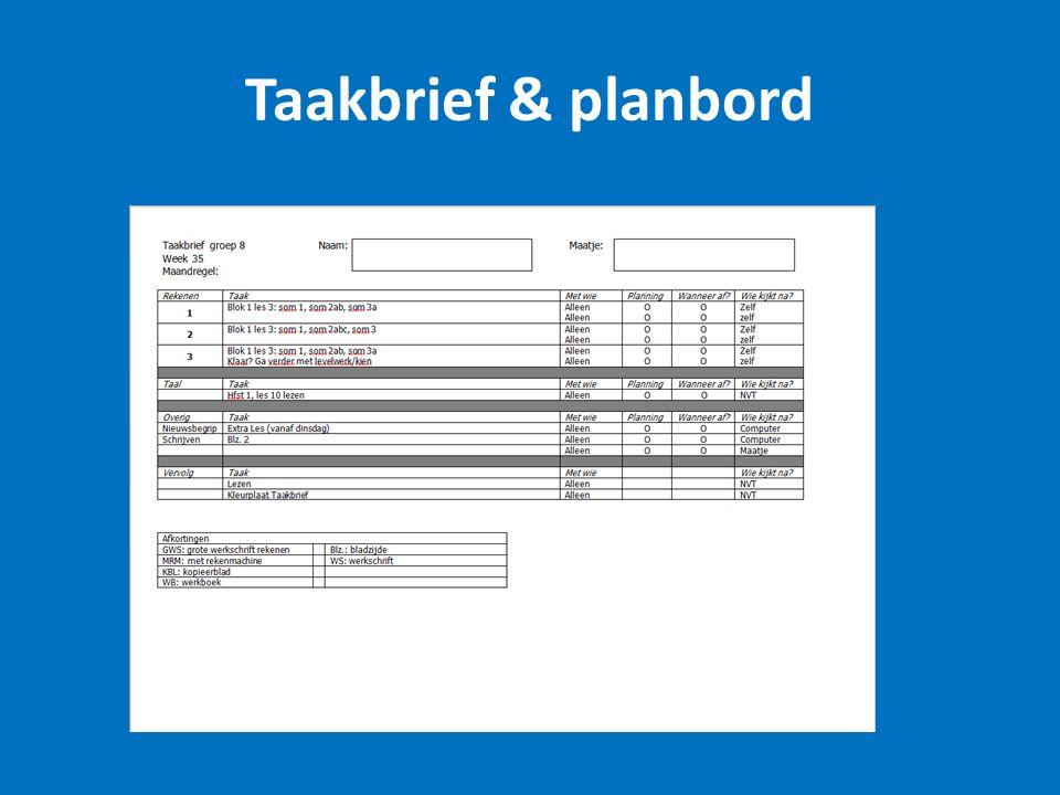 Taakbrief & planbord