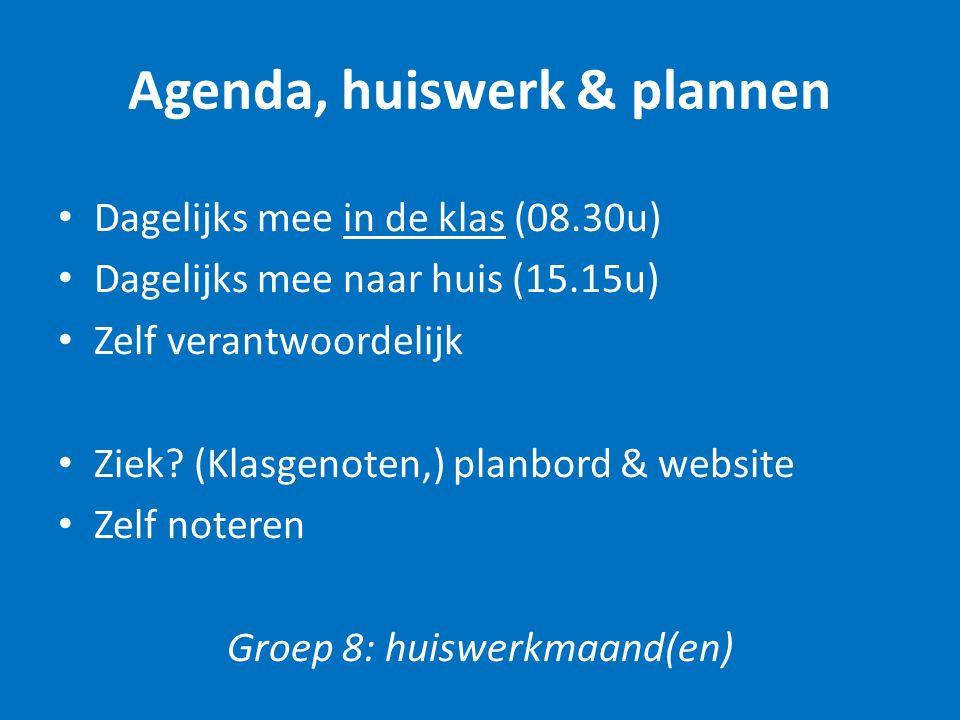 Agenda, huiswerk & plannen