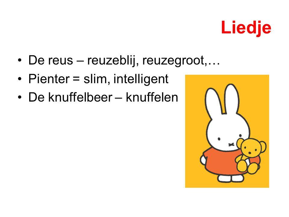 Liedje De reus – reuzeblij, reuzegroot,… Pienter = slim, intelligent