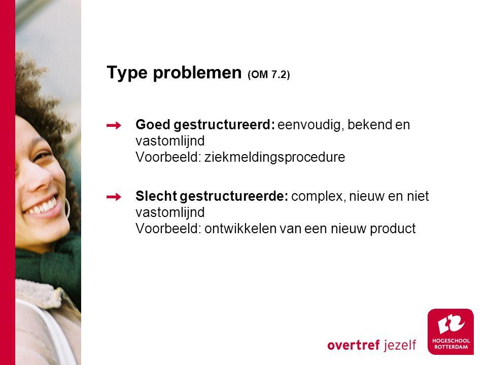 Type problemen (OM 7.2) Goed gestructureerd: eenvoudig, bekend en vastomlijnd Voorbeeld: ziekmeldingsprocedure.
