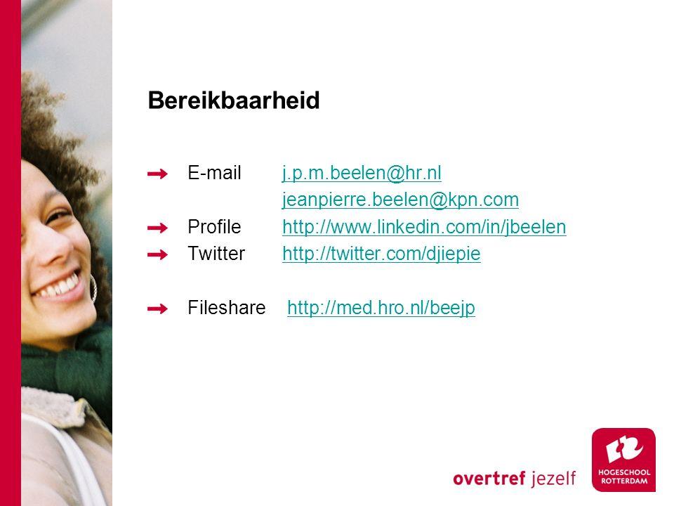 Bereikbaarheid E-mail j.p.m.beelen@hr.nl jeanpierre.beelen@kpn.com