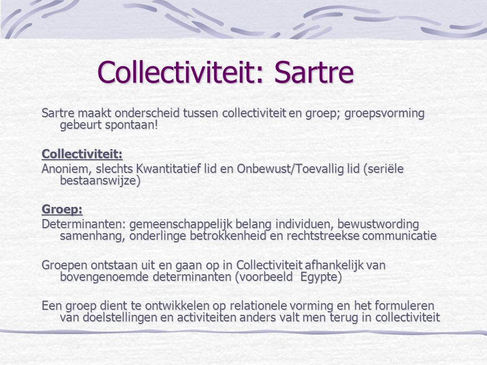 Collectiviteit: Sartre