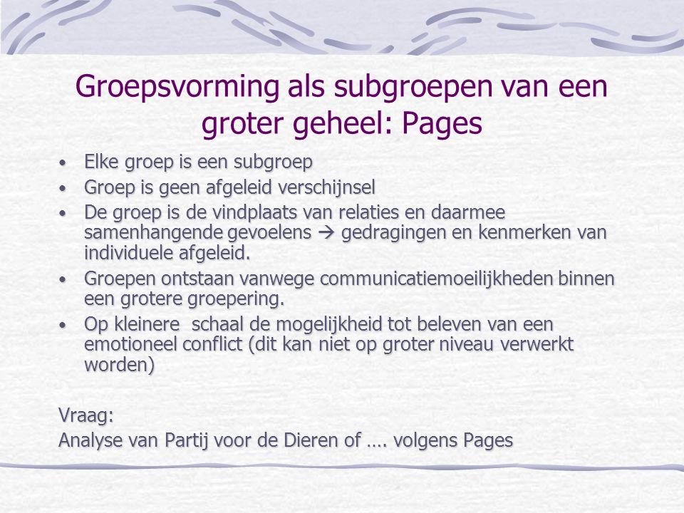 Groepsvorming als subgroepen van een groter geheel: Pages