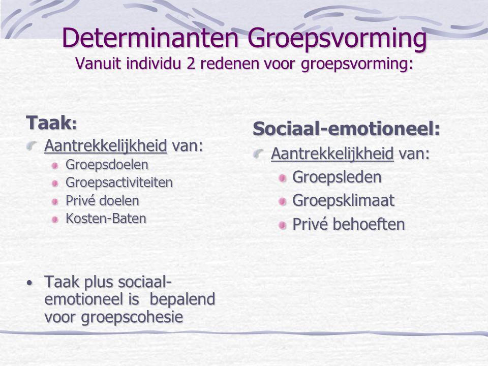 Determinanten Groepsvorming Vanuit individu 2 redenen voor groepsvorming: